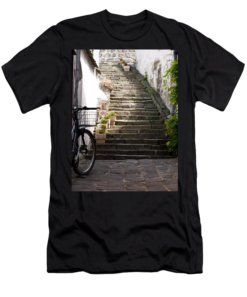 Stairs Men's T-Shirt (Athletic Fit) featuring the photograph Stone Stairs by Rae Tucker