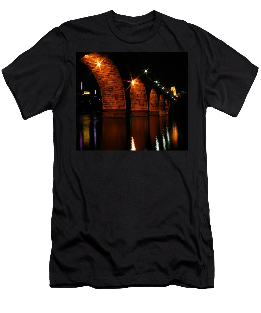 Bridges Men's T-Shirt (Athletic Fit) featuring the photograph Stonearch Bridge - Minneapolis by Angie Schutt