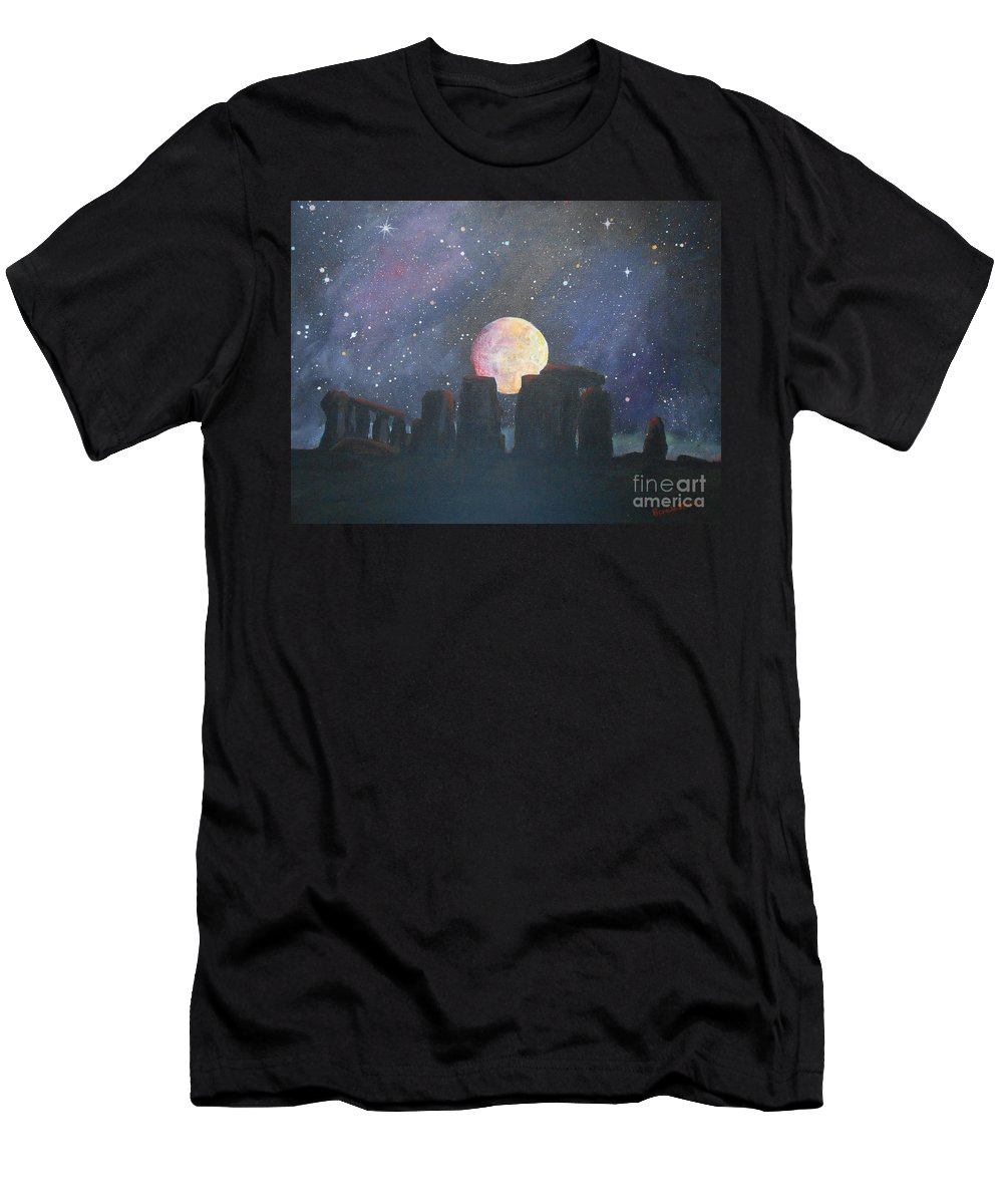 Stonehenge Men's T-Shirt (Athletic Fit) featuring the painting Stonehenge by Brenda Jenkins