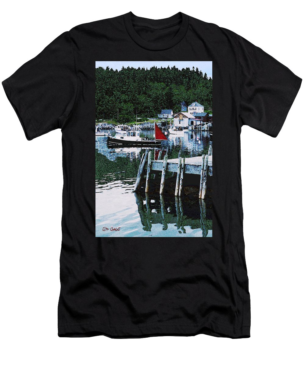 Maine Men's T-Shirt (Athletic Fit) featuring the photograph Stonington Harbor With Pier Maine Coast by Ed A Gage