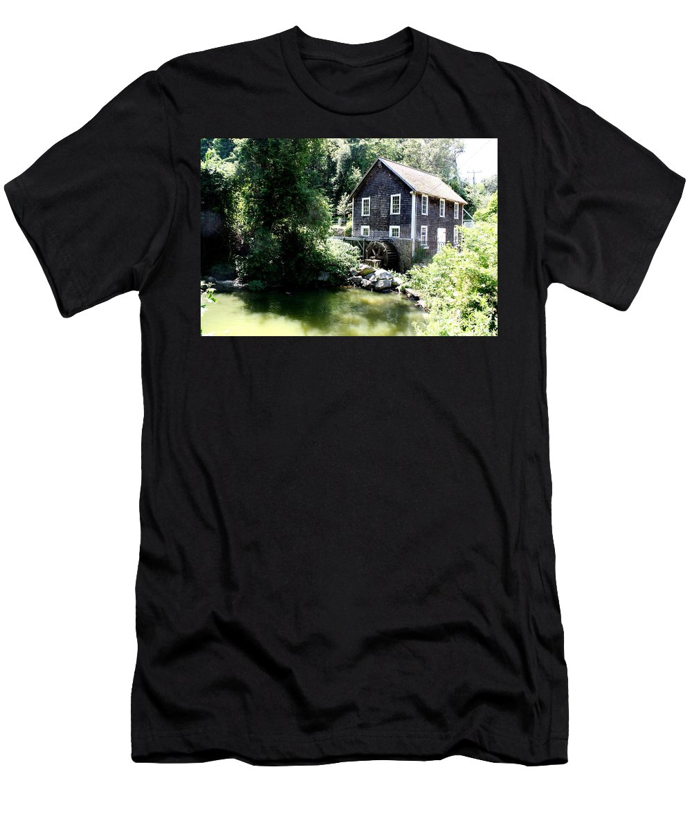Stony Brook Gristmill & Museum Men's T-Shirt (Athletic Fit) featuring the photograph Stony Brook Gristmill And Museum by Donna Walsh
