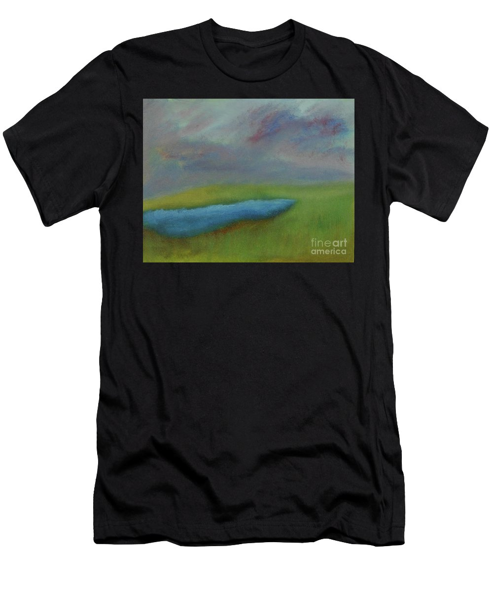 Pond Men's T-Shirt (Athletic Fit) featuring the painting Storm Brewing by Michell Lazov