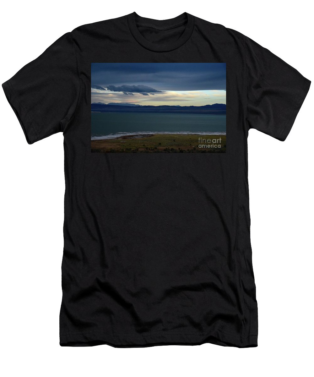 Mono Lake Men's T-Shirt (Athletic Fit) featuring the photograph Storm Clouds Over Mono Lake by Bruce Chevillat