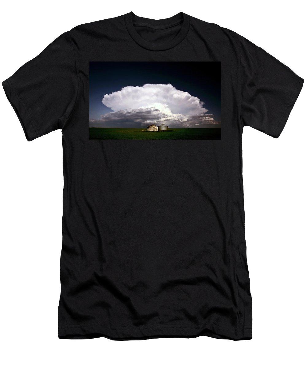 Cumulonimbus Men's T-Shirt (Athletic Fit) featuring the digital art Storm Clouds Over Saskatchewan Granaries by Mark Duffy