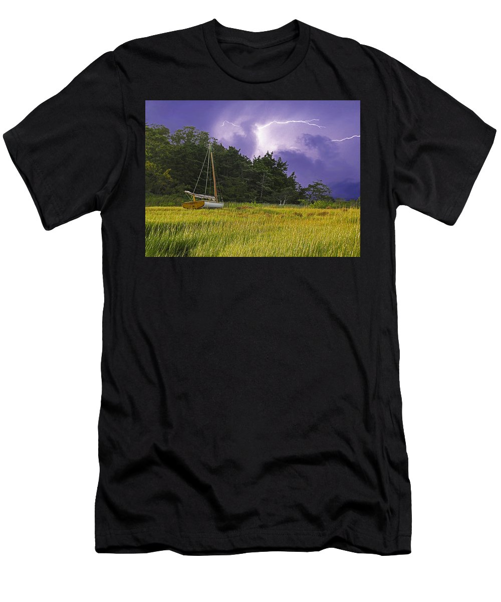 Barnstable Men's T-Shirt (Athletic Fit) featuring the photograph Storm Over Knott's Island by Charles Harden