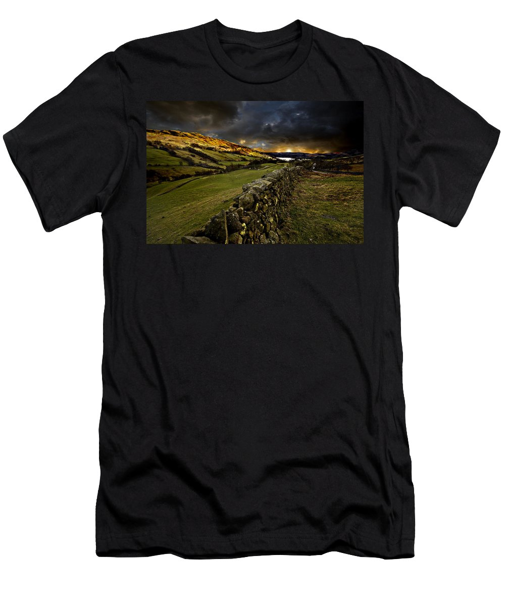 Windermere Men's T-Shirt (Athletic Fit) featuring the photograph Storm Over Windermere by Meirion Matthias