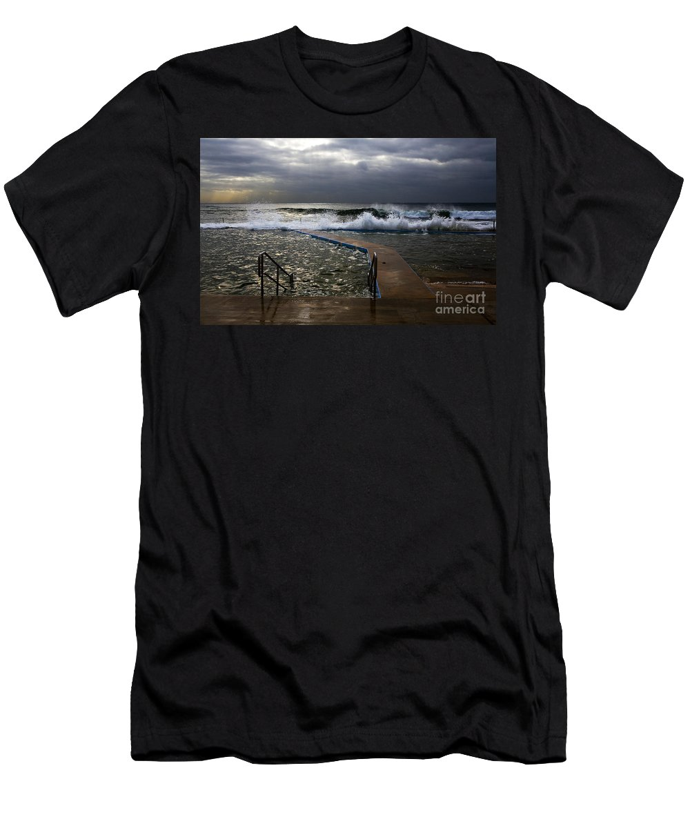Storm Clouds Collaroy Beach Australia Men's T-Shirt (Athletic Fit) featuring the photograph Stormy Morning At Collaroy by Sheila Smart Fine Art Photography