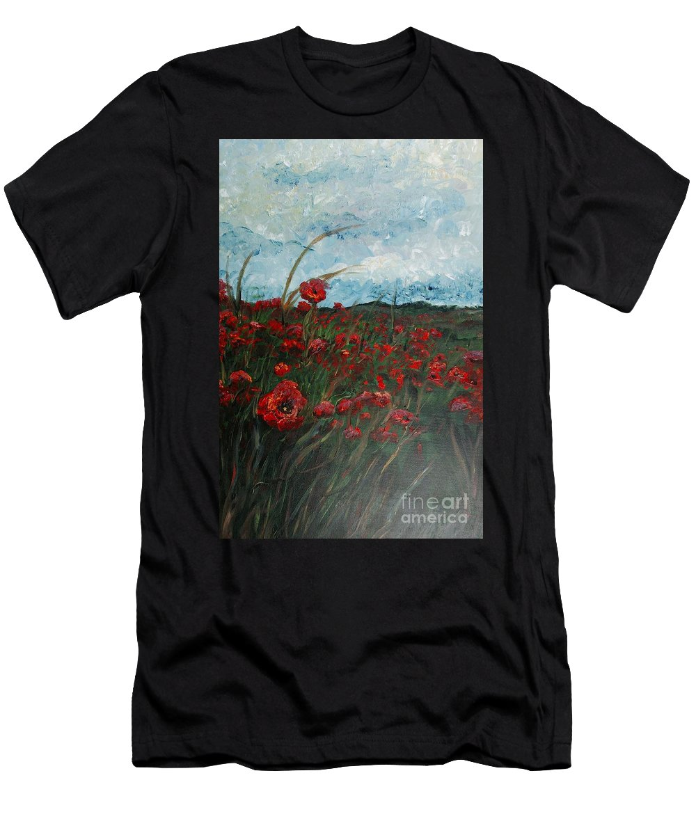 Poppies Men's T-Shirt (Athletic Fit) featuring the painting Stormy Poppies by Nadine Rippelmeyer