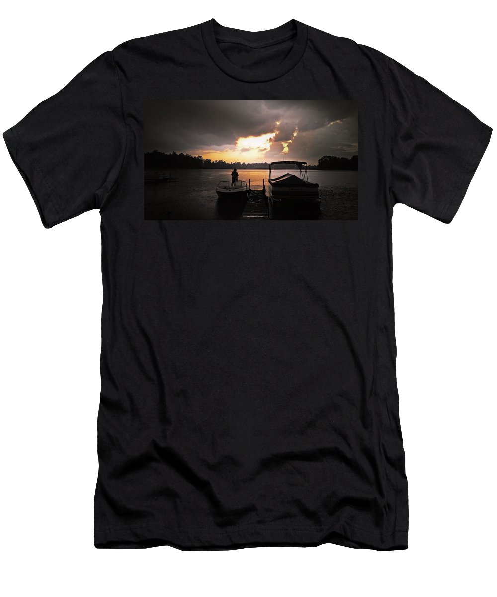 Storm Men's T-Shirt (Athletic Fit) featuring the photograph Stormy Sunset by Graesen Arnoff