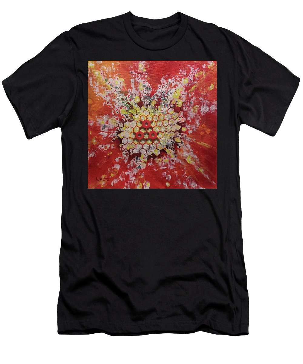 Particle Physics Orange Yellow White Men's T-Shirt (Athletic Fit) featuring the painting Strangelet by Beth Waltz
