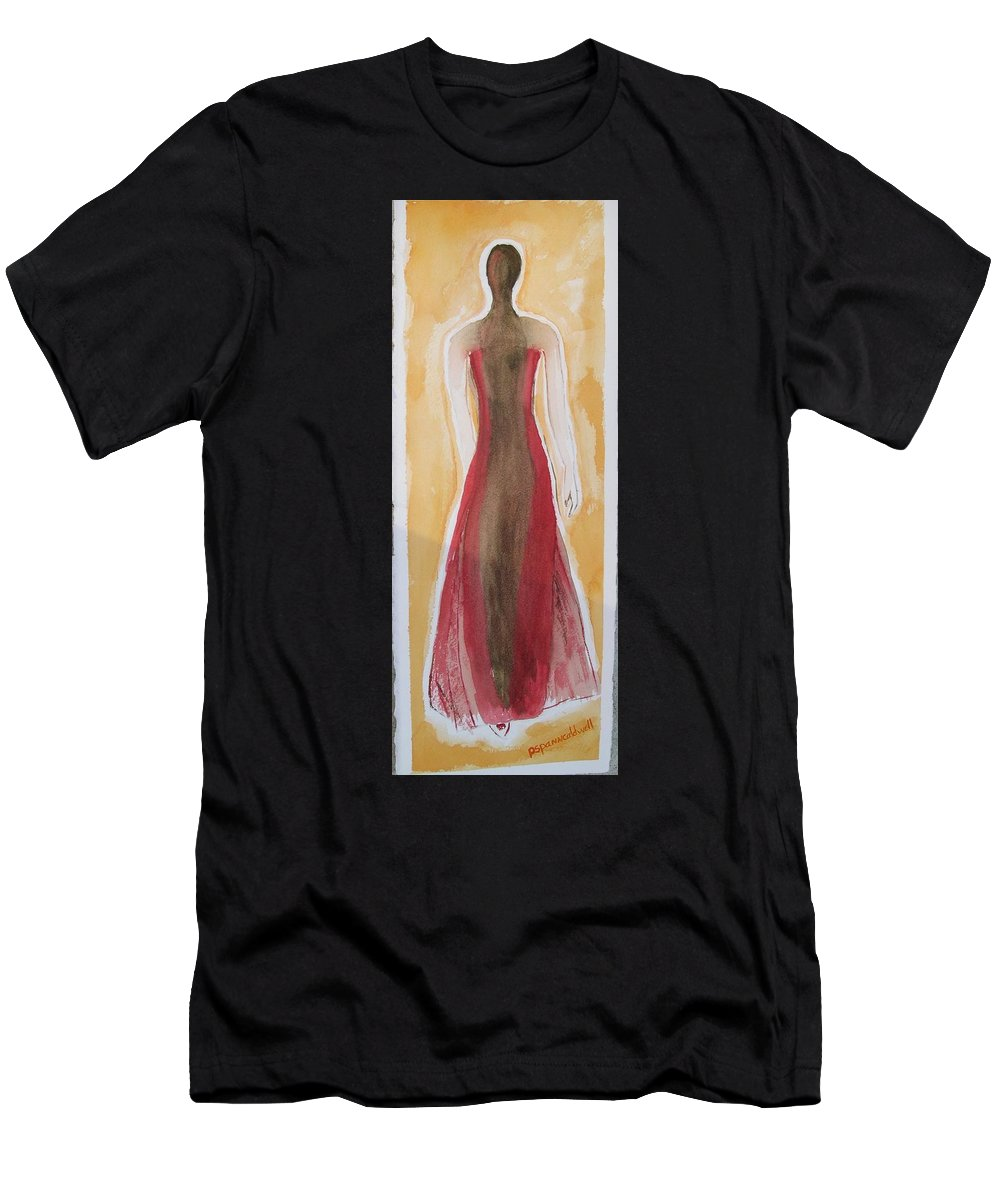 Dress Lady Red Yellow Fashion Men's T-Shirt (Athletic Fit) featuring the painting Stranger by Patricia Caldwell