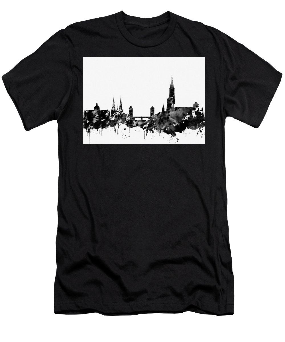 Strasbourg Skyline Men's T-Shirt (Athletic Fit) featuring the digital art Strasbourg Skyline-black by Erzebet S