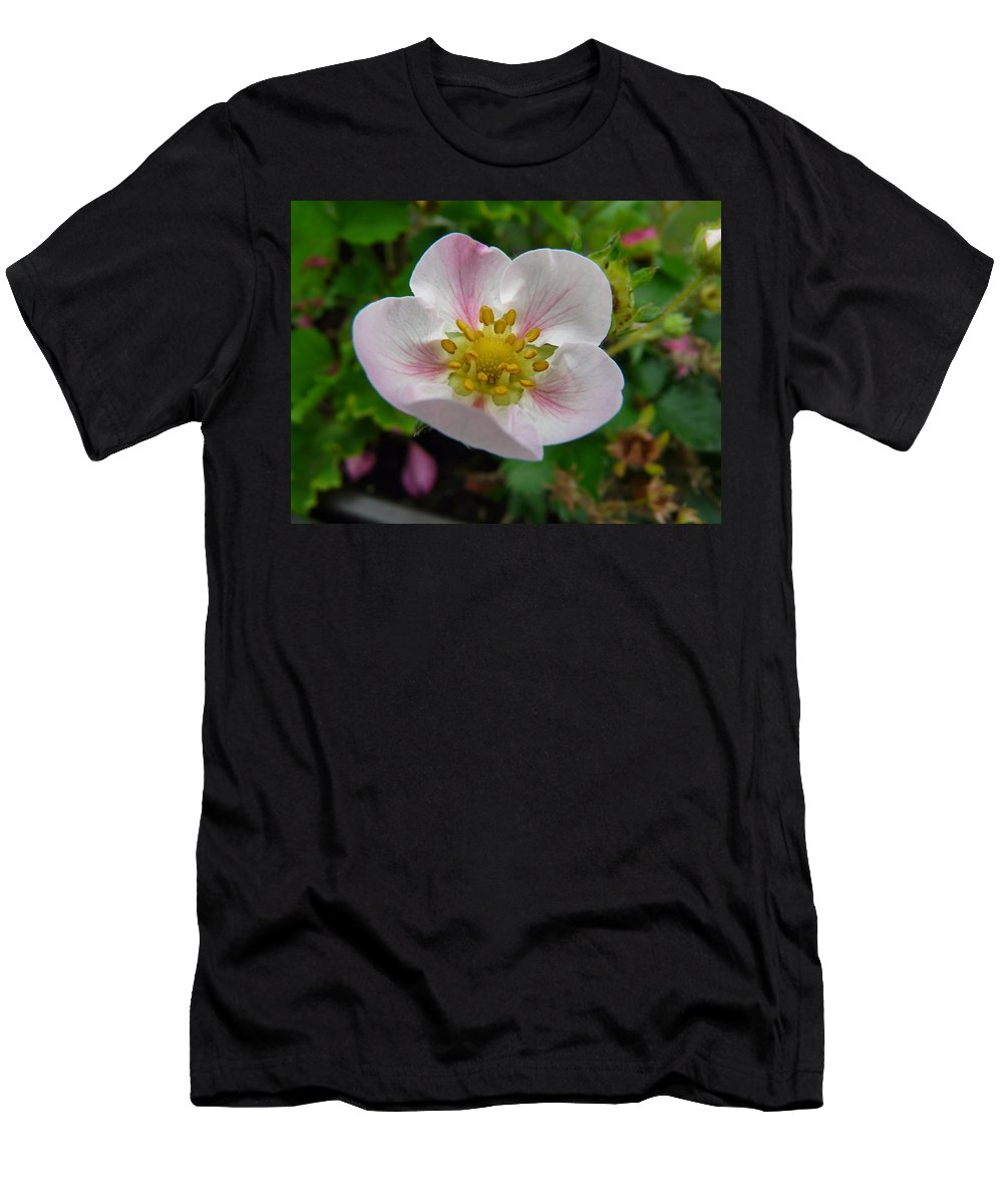 Plant Men's T-Shirt (Athletic Fit) featuring the photograph Strawberry Blossom by Valerie Ornstein