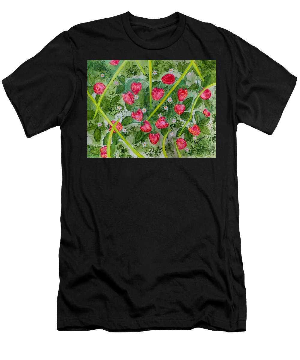 Strawberry Men's T-Shirt (Athletic Fit) featuring the painting Strawberry Love Patch by Amy Barrow