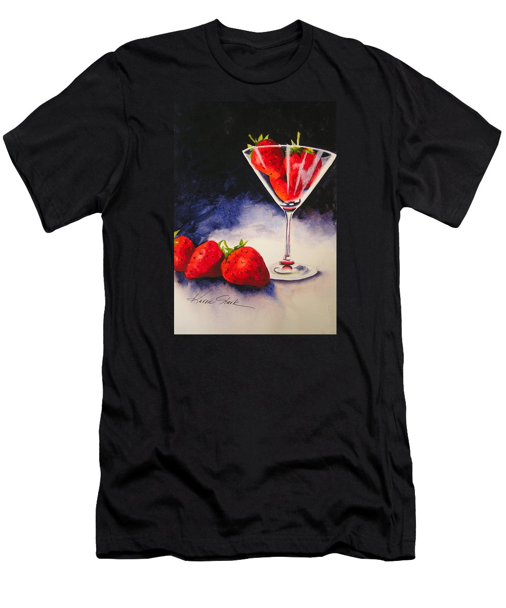 Strawberry Men's T-Shirt (Athletic Fit) featuring the painting Strawberrytini by Karen Stark