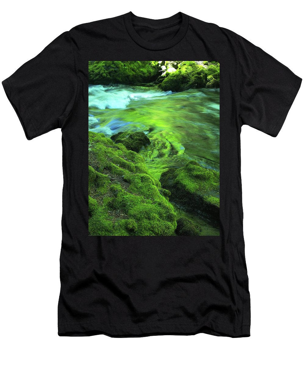 Green Men's T-Shirt (Athletic Fit) featuring the photograph Stream Above Whitehorse Falls by Teri Schuster