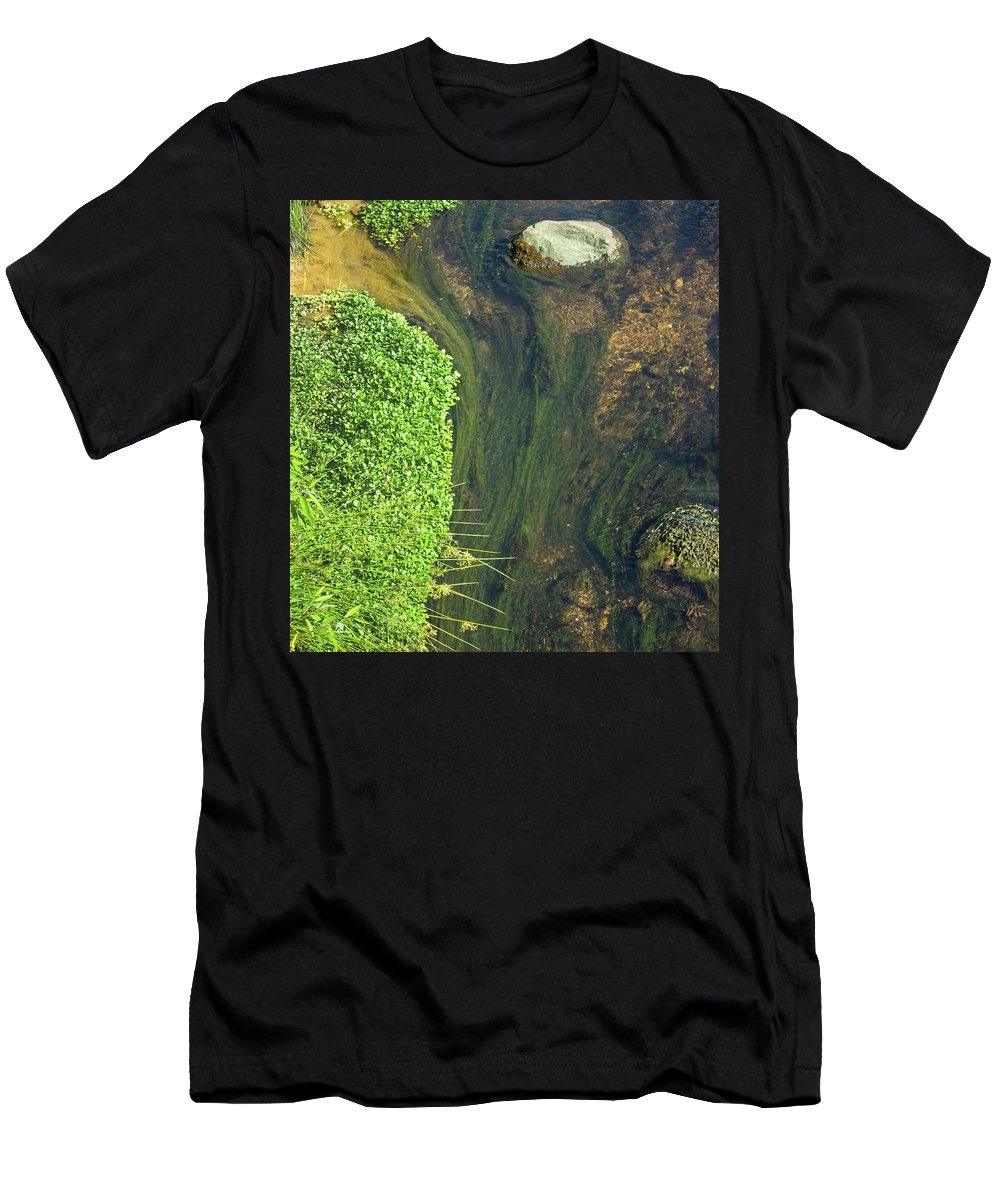 Water Men's T-Shirt (Athletic Fit) featuring the photograph Stream Of Weeds I by Lori Lynn Sadelack