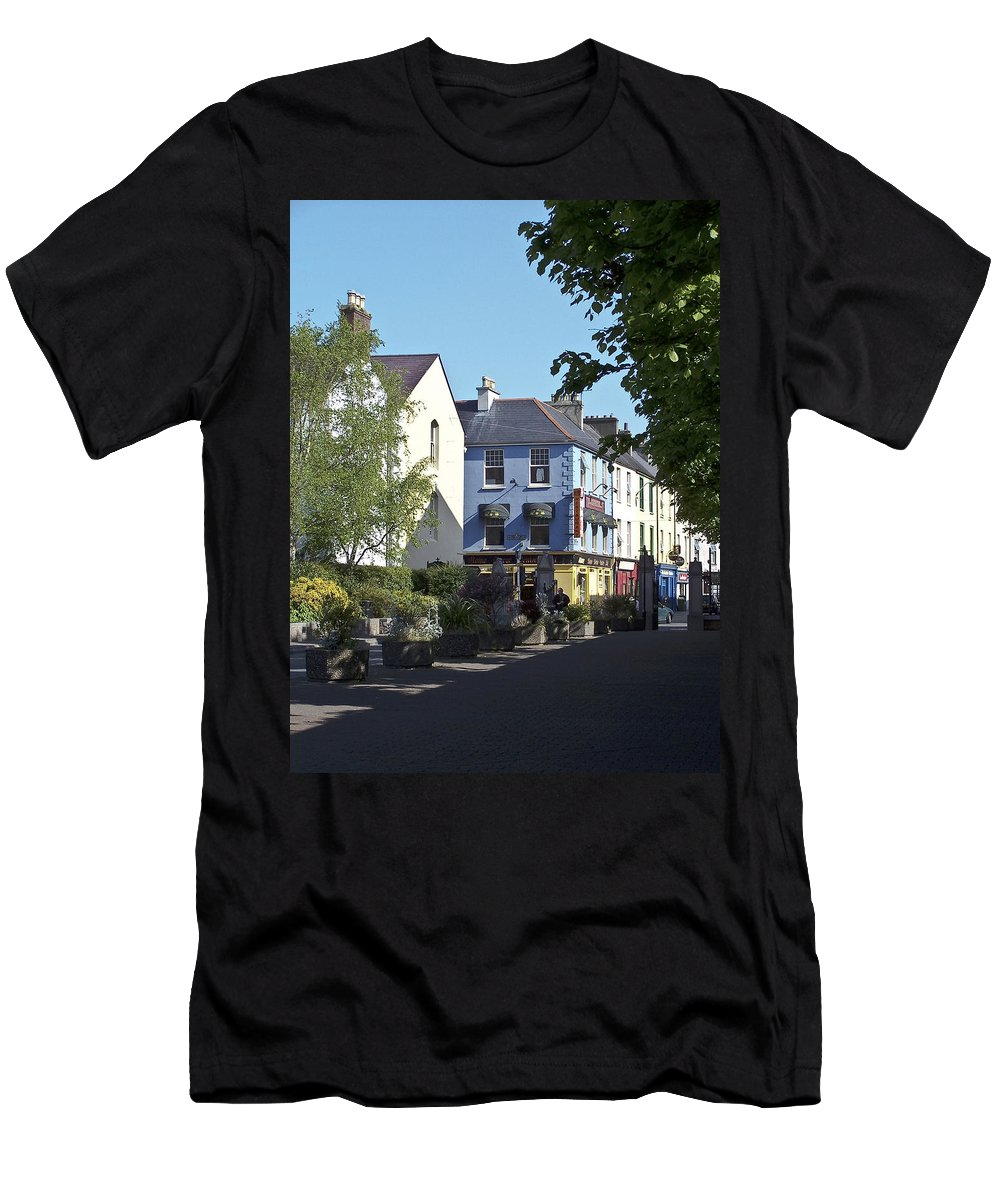 Irish Men's T-Shirt (Athletic Fit) featuring the photograph Street Corner In Tralee Ireland by Teresa Mucha