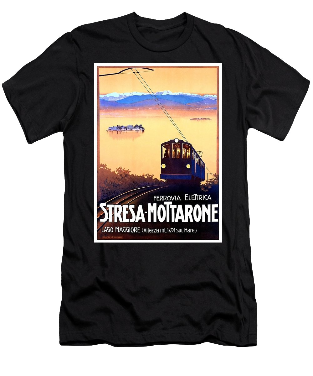 Stresa Men's T-Shirt (Athletic Fit) featuring the painting Stresa - Mottarone, Cable Car, Italy by Long Shot
