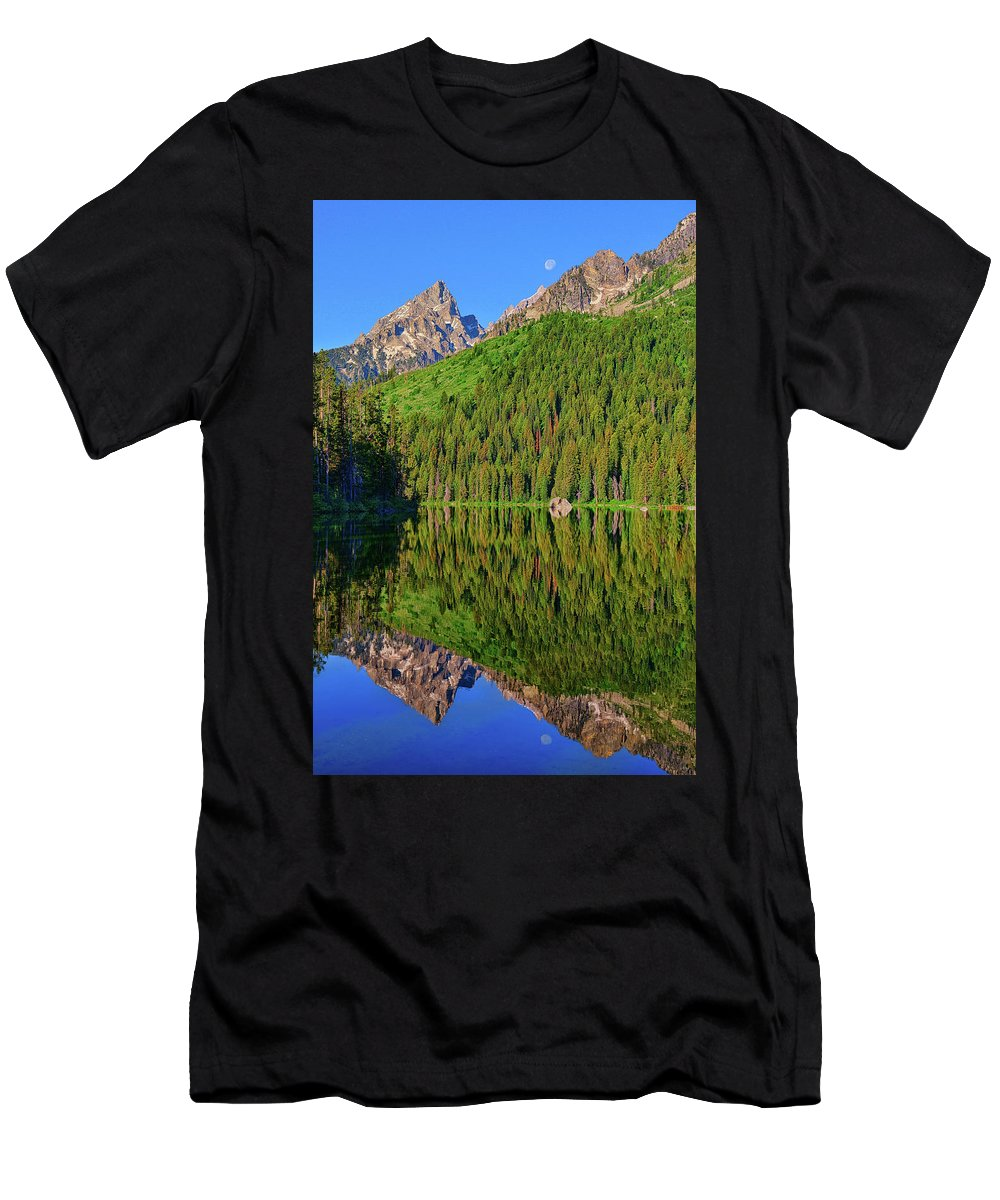 String Lake Men's T-Shirt (Athletic Fit) featuring the photograph String Lake Morning Mirror by Greg Norrell