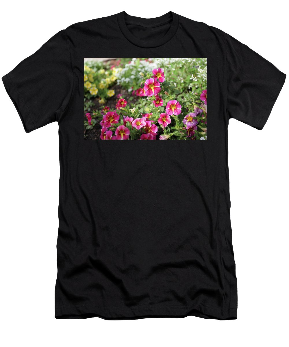 Petunias Men's T-Shirt (Athletic Fit) featuring the photograph Striped Petunias by Nancy Aurand-Humpf
