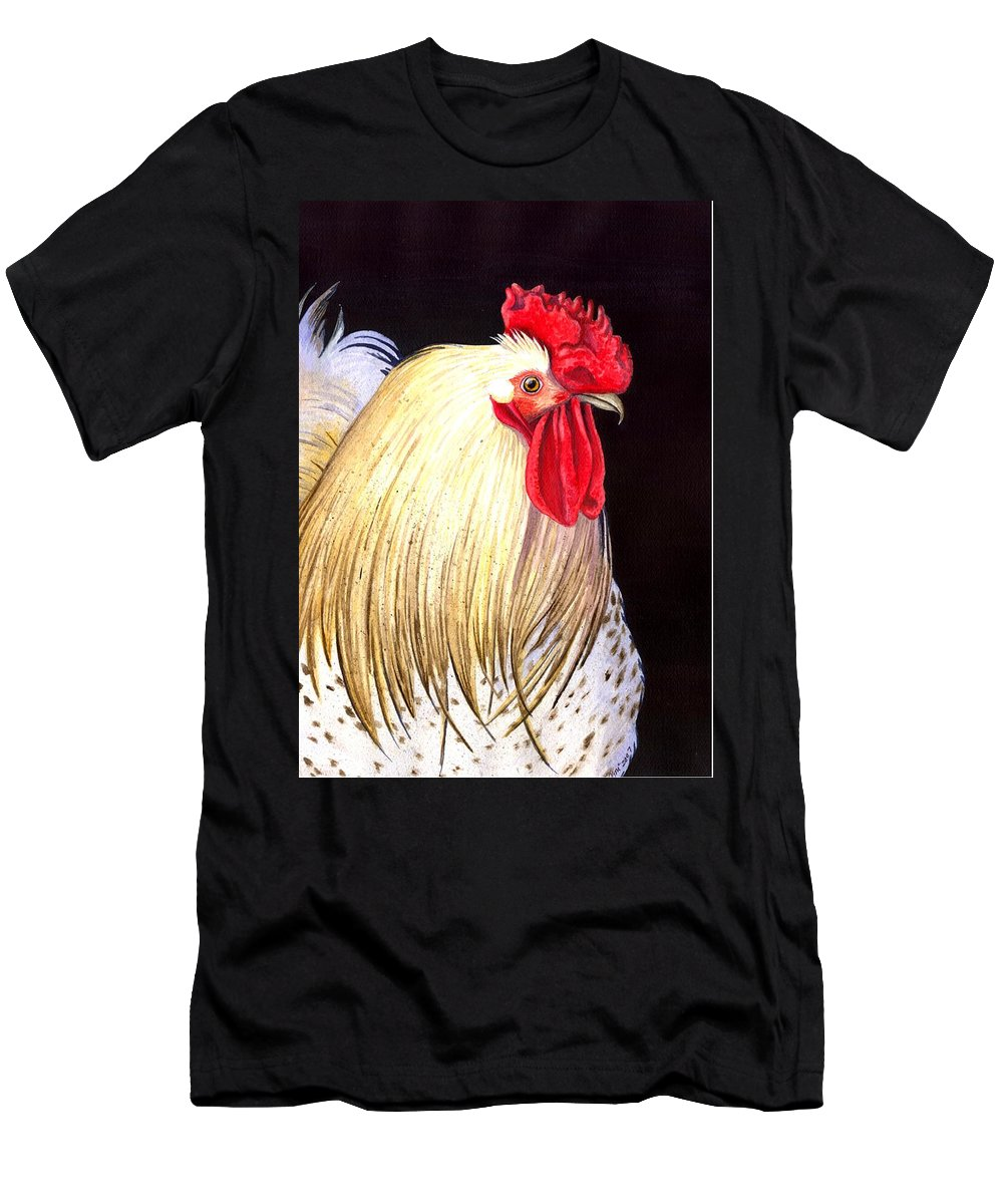 Rooster Men's T-Shirt (Athletic Fit) featuring the painting Studdley by Catherine G McElroy