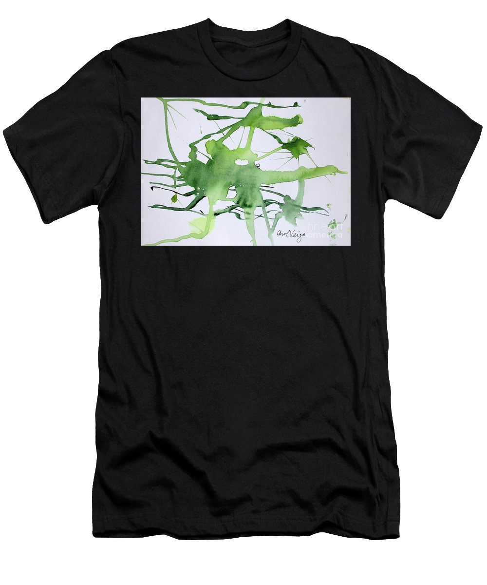 Green Men's T-Shirt (Athletic Fit) featuring the painting Study In Green by Carol Veiga
