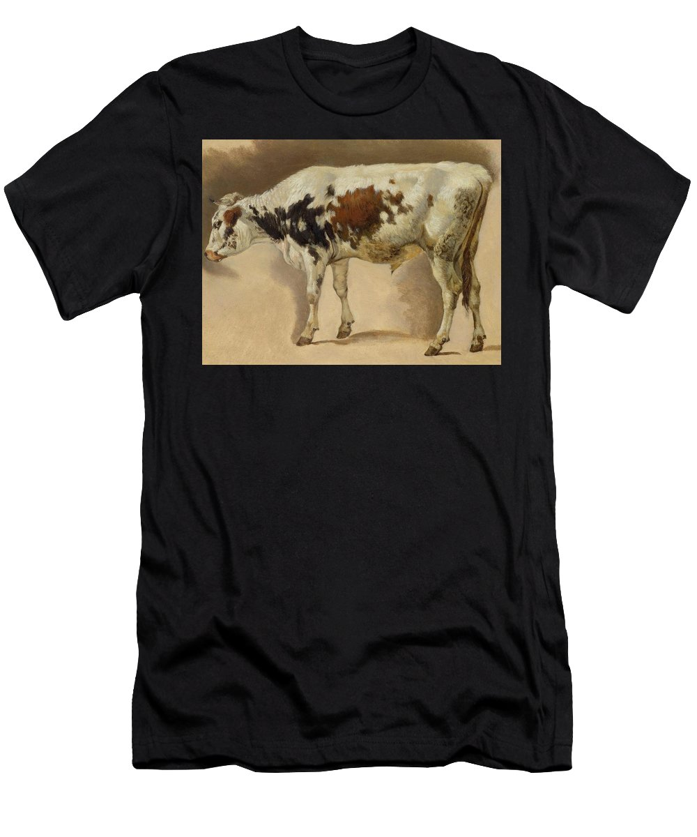Gauermann Men's T-Shirt (Athletic Fit) featuring the painting Study Of A Young Bull by MotionAge Designs