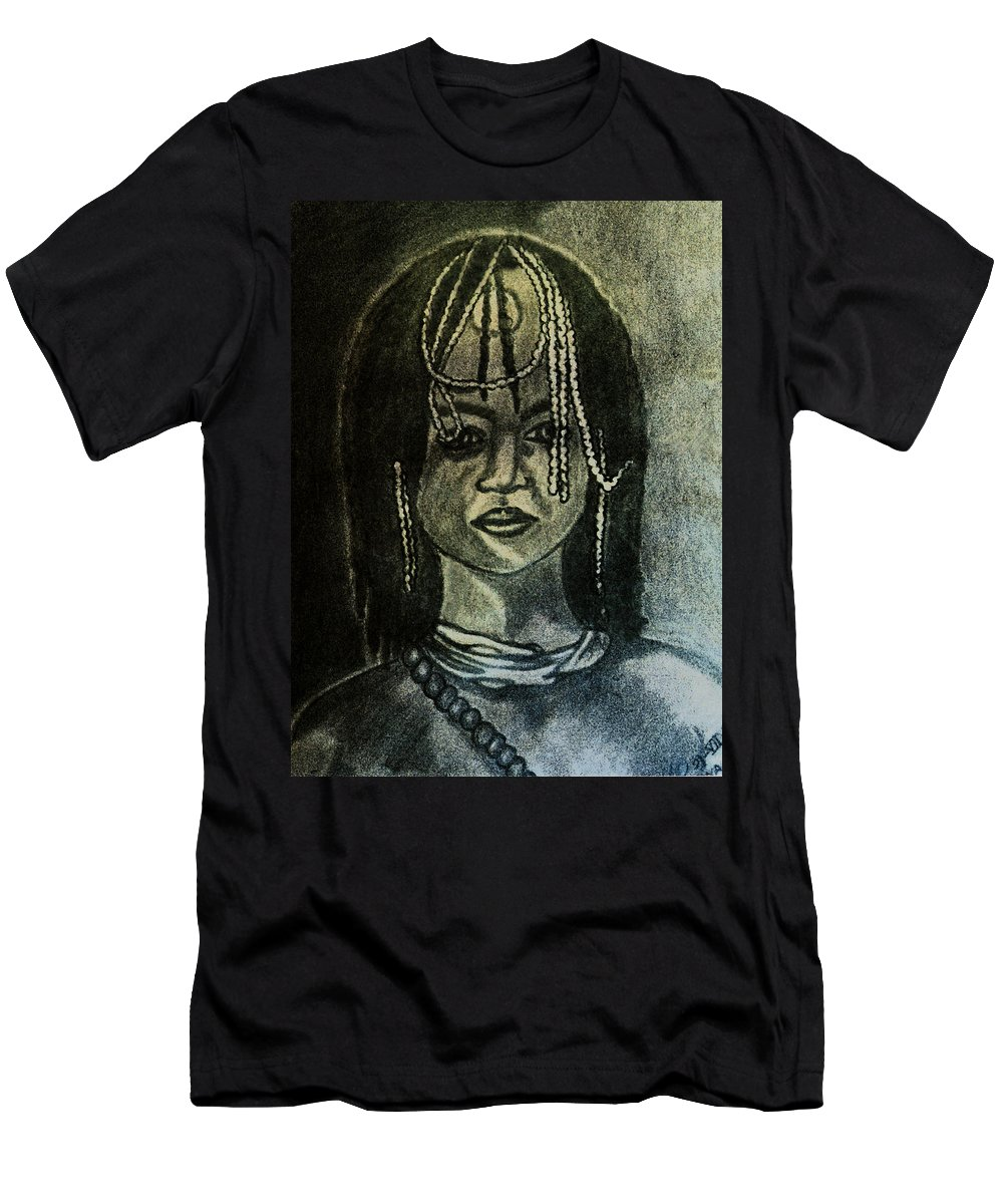 Study Men's T-Shirt (Athletic Fit) featuring the painting Study To Of Another Childhood I Keep Memories by Madalena Lobao-Tello