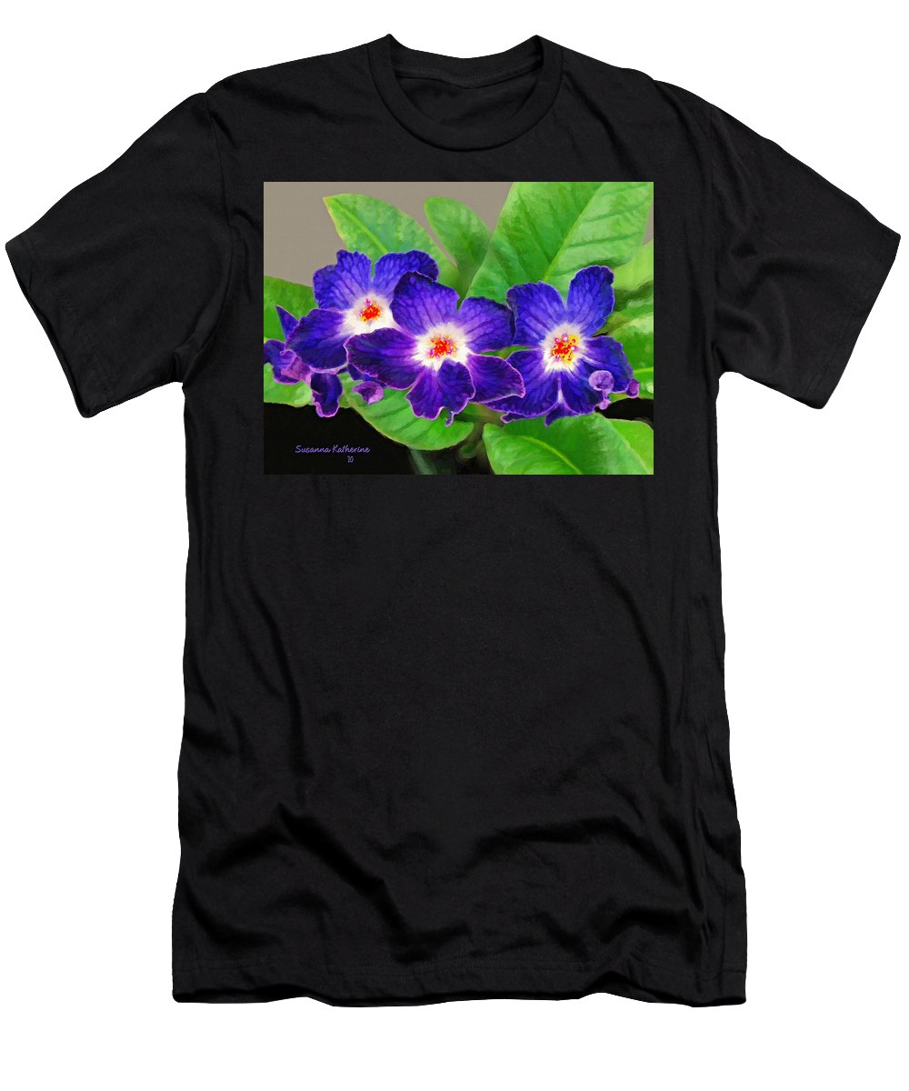 Flowers Men's T-Shirt (Athletic Fit) featuring the painting Stunning Blue Flowers by Susanna Katherine