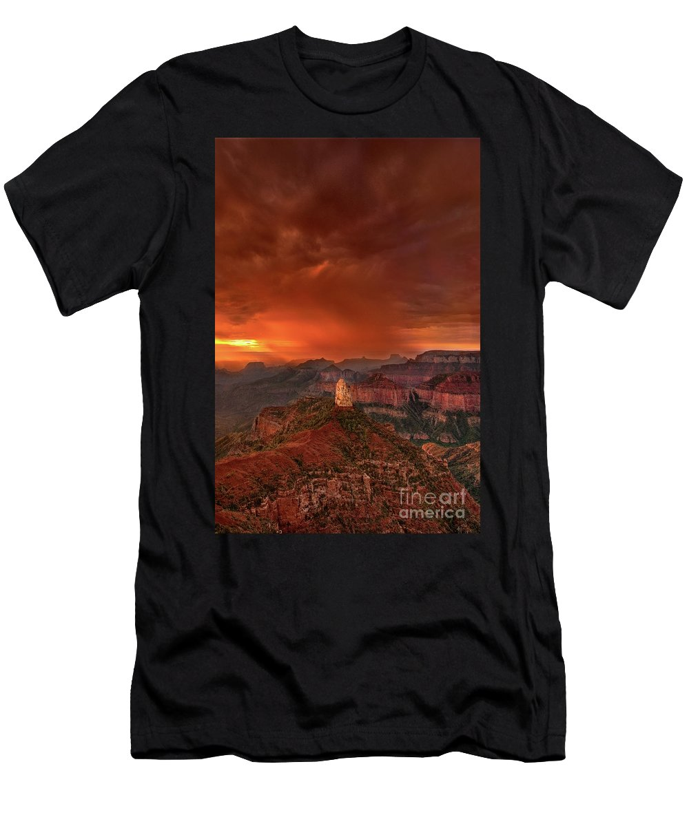 North America Men's T-Shirt (Athletic Fit) featuring the photograph Stunning Red Storm Clouds Over The North Rim Grand Canyon Arizona by Dave Welling