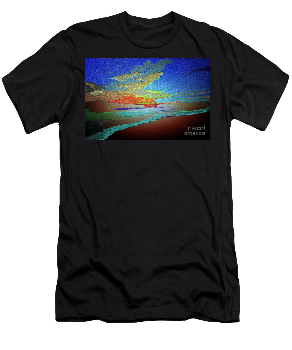 Stunning.sunset Men's T-Shirt (Athletic Fit) featuring the painting Stunning Sunset by Karen Harding