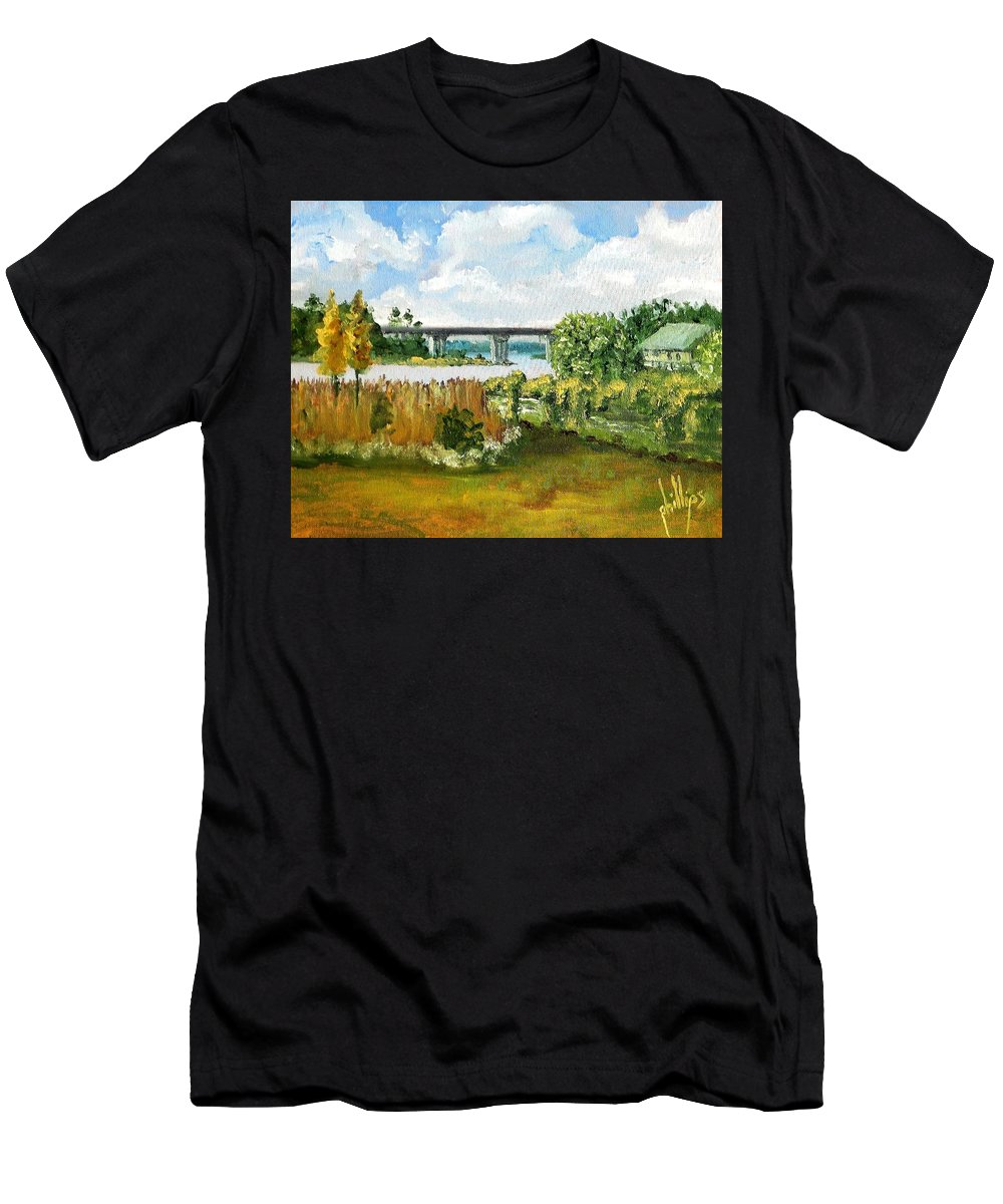Men's T-Shirt (Athletic Fit) featuring the painting Sturgeon City Park by Jim Phillips