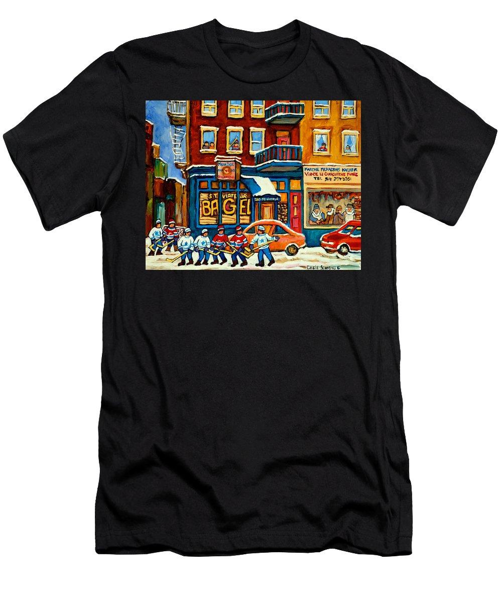 St.viateur Bagel Men's T-Shirt (Athletic Fit) featuring the painting St.viateur Bagel Hockey Montreal by Carole Spandau