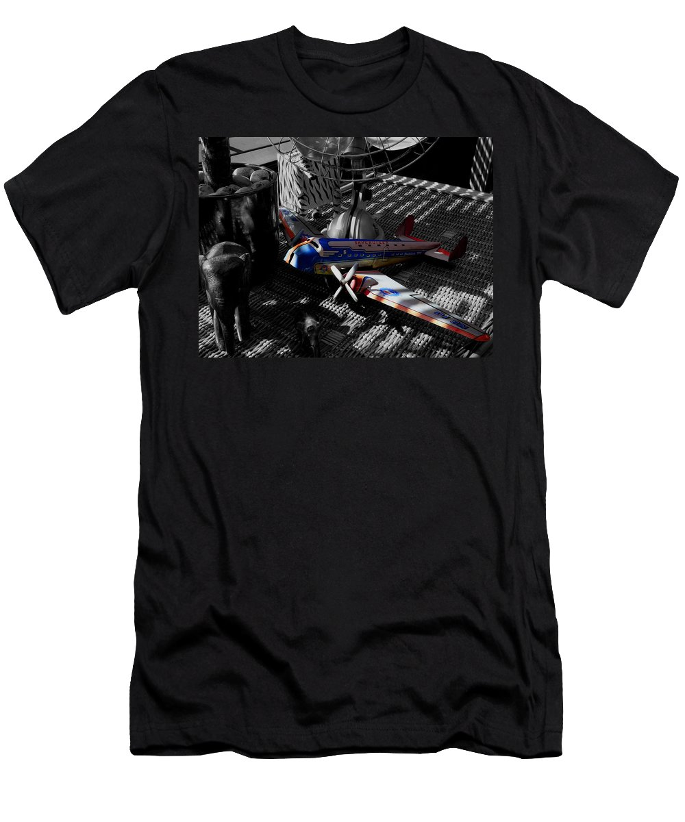 Still Life Men's T-Shirt (Athletic Fit) featuring the photograph Suburban Safari The Zebra Strikes Back by Charles Stuart