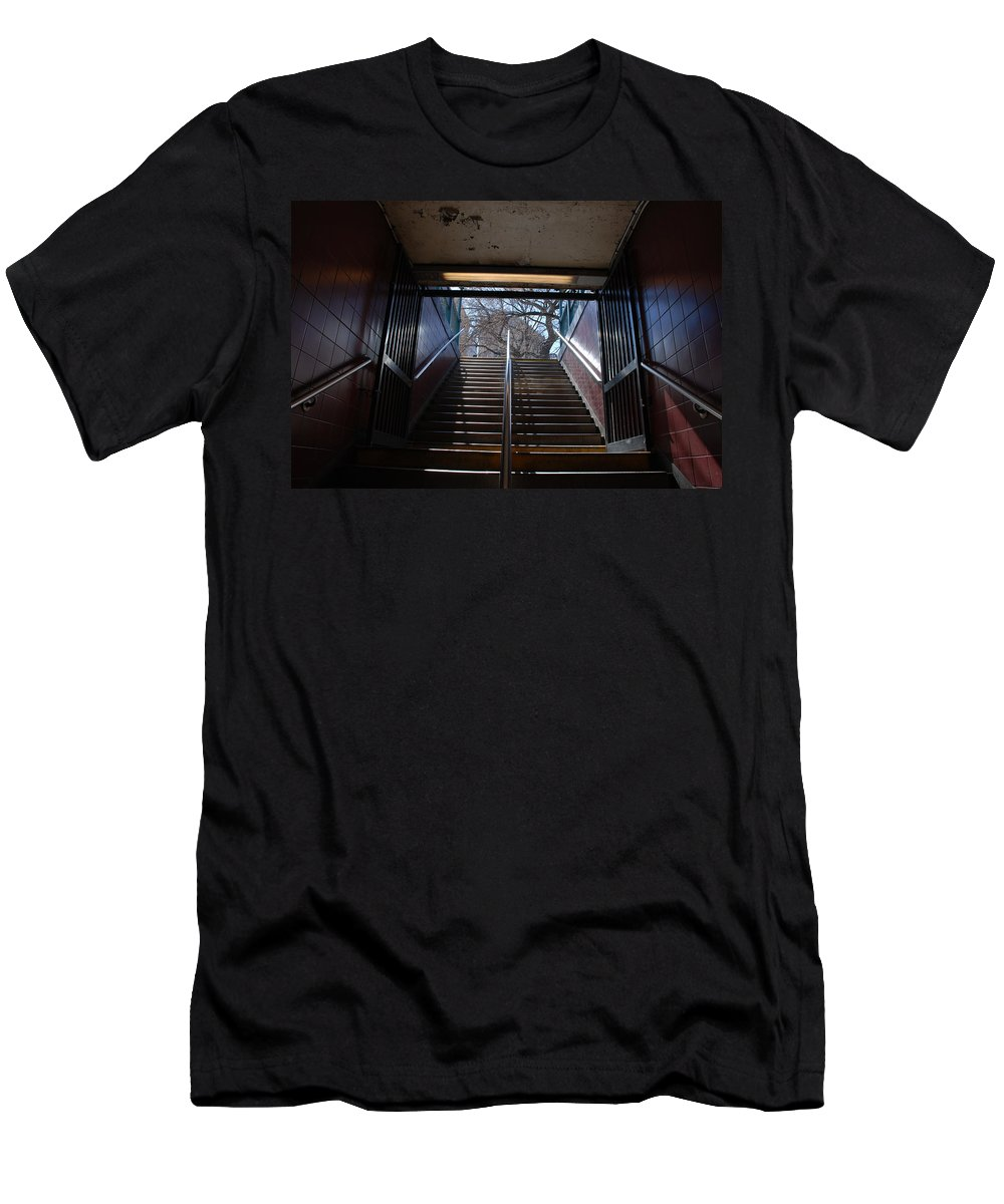 Pop Art Men's T-Shirt (Athletic Fit) featuring the photograph Subway Stairs To Freedom by Rob Hans