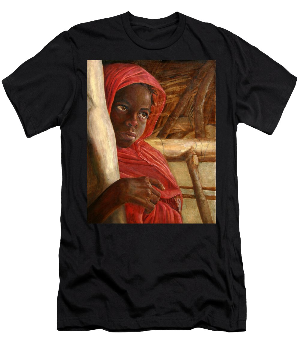 Children Painting Men's T-Shirt (Athletic Fit) featuring the painting Sudanese Girl by Portraits By NC
