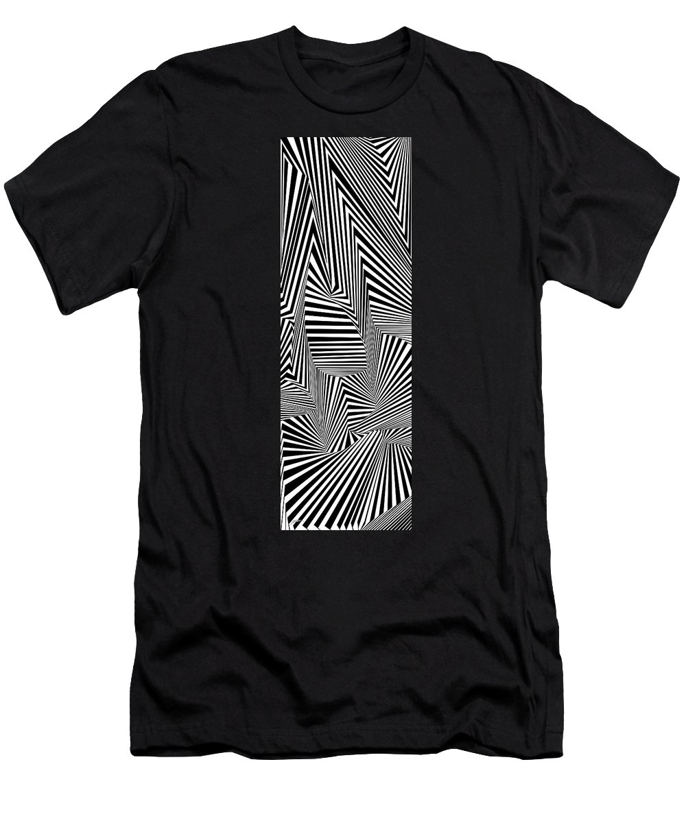 Dynamic Black And White Men's T-Shirt (Athletic Fit) featuring the painting Suevreserp by Douglas Christian Larsen