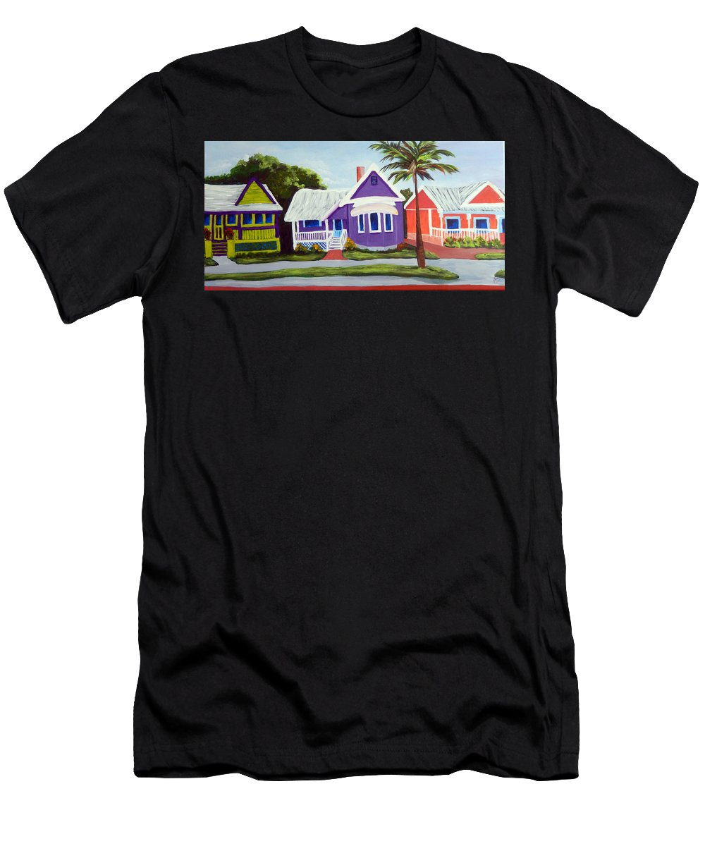Houses Men's T-Shirt (Athletic Fit) featuring the painting Sulliivan Street Ladies by Kathy Przepadlo