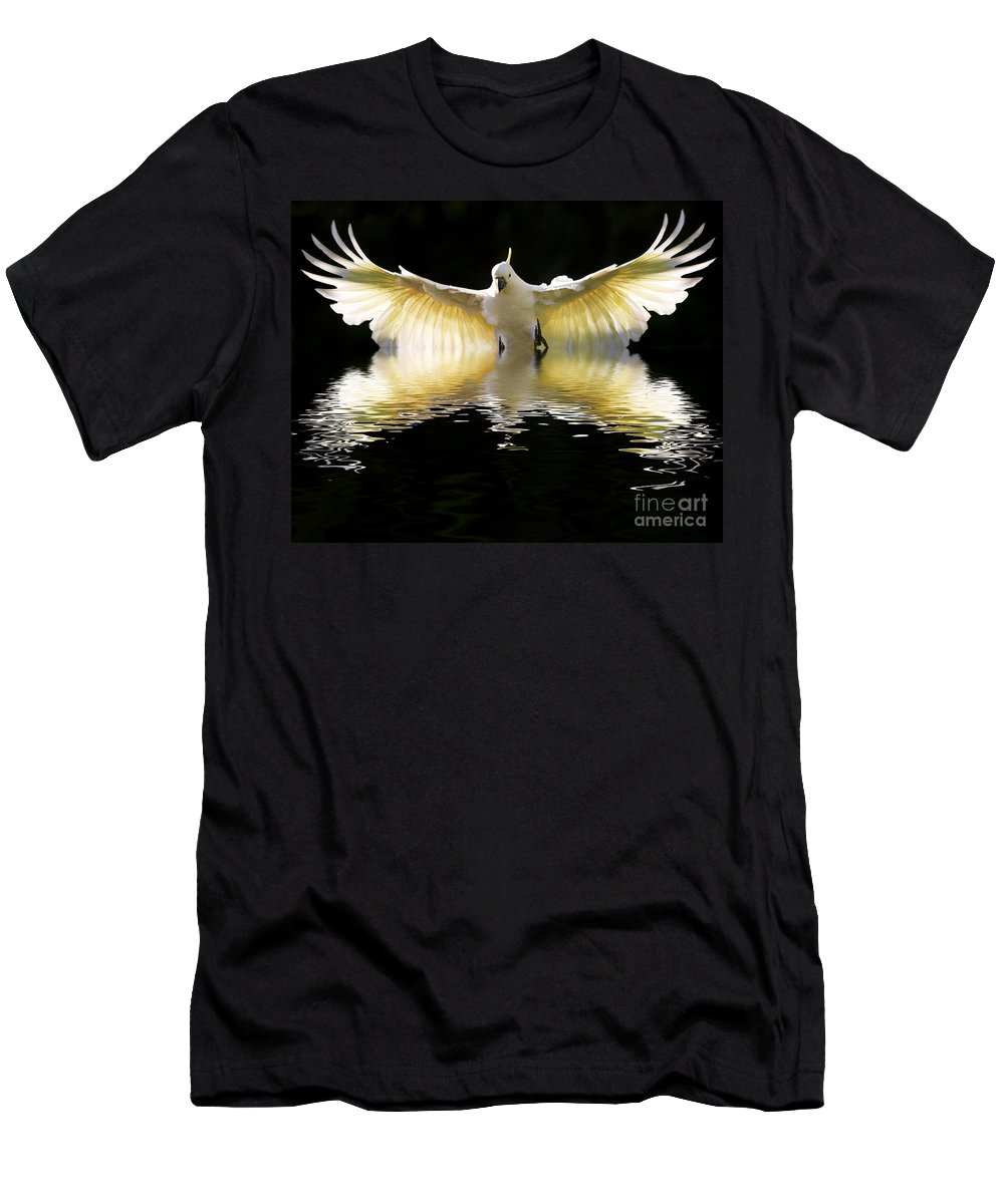 Bird In Flight Men's T-Shirt (Athletic Fit) featuring the photograph Sulphur Crested Cockatoo Rising by Sheila Smart Fine Art Photography