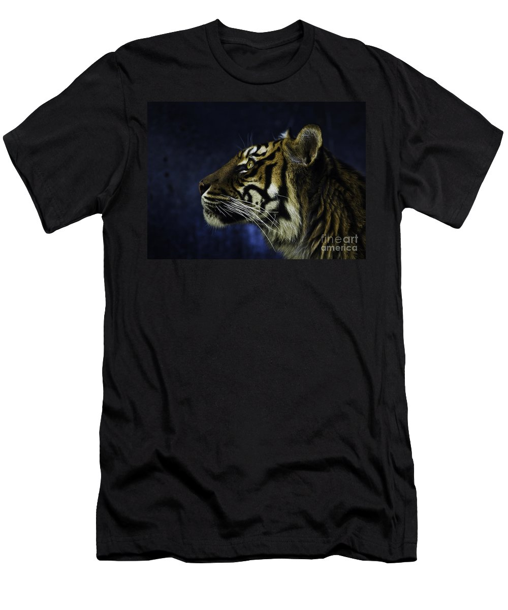 Sumatran Tiger Men's T-Shirt (Athletic Fit) featuring the photograph Sumatran Tiger Profile by Sheila Smart Fine Art Photography