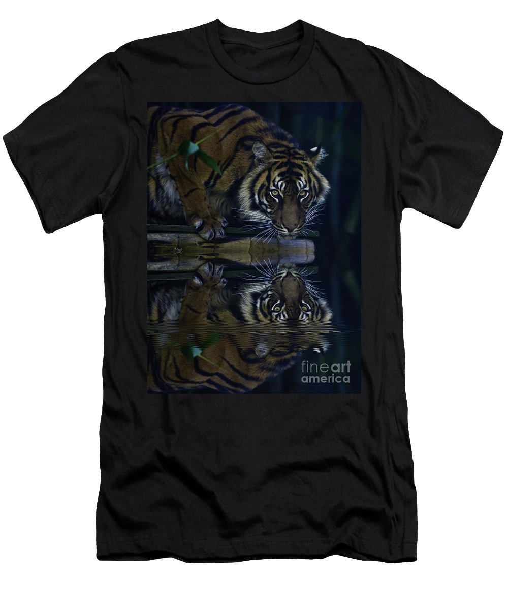 Sumatran Tiger Men's T-Shirt (Athletic Fit) featuring the photograph Sumatran Tiger Reflection by Sheila Smart Fine Art Photography
