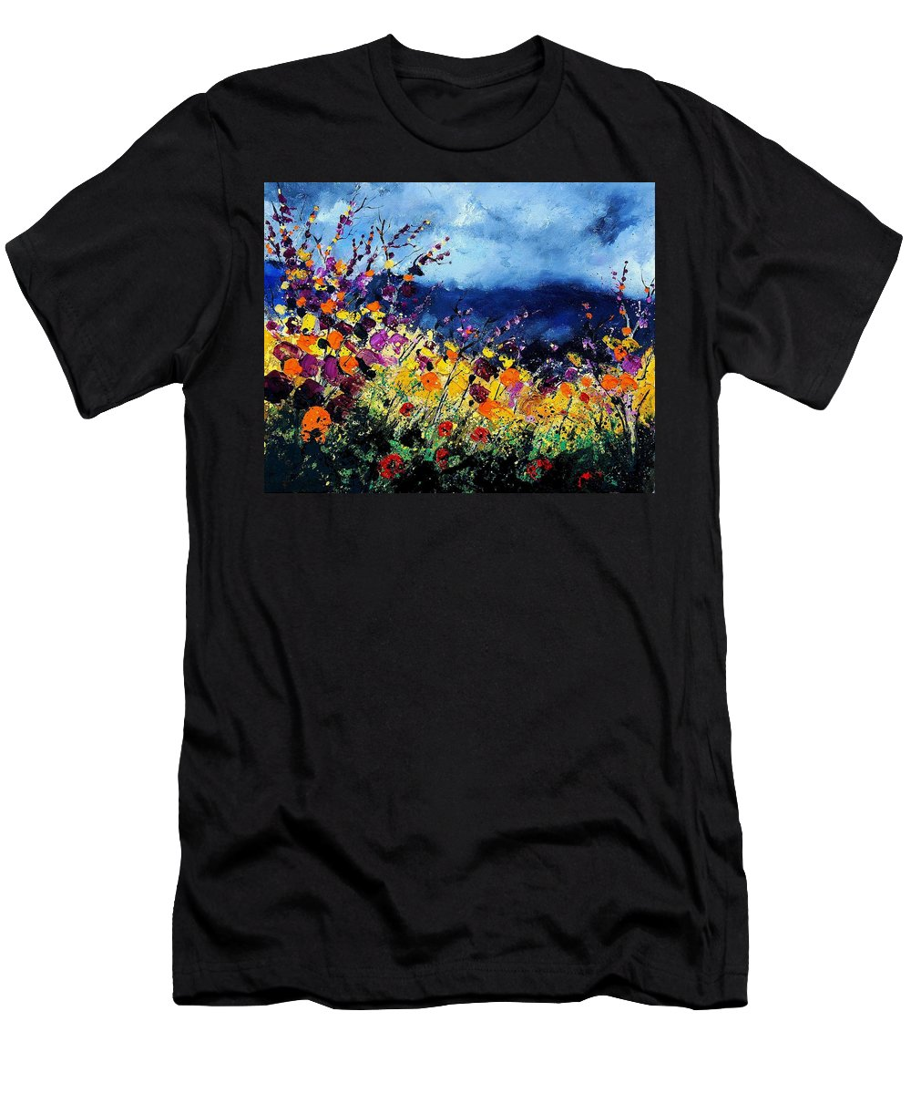 Poppy Men's T-Shirt (Athletic Fit) featuring the painting Summer 45 by Pol Ledent