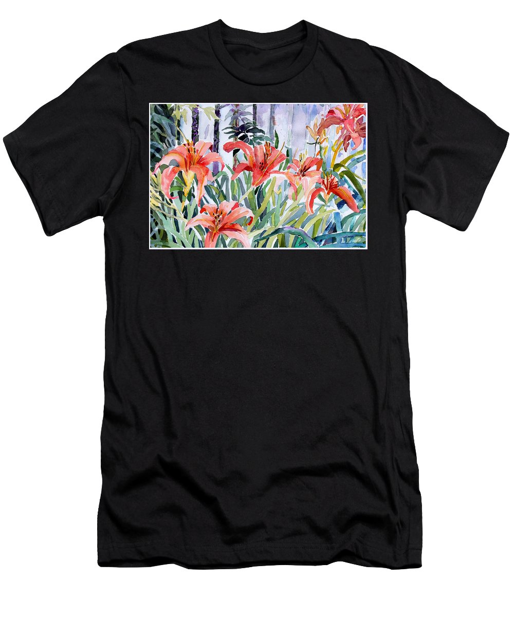 Day Lily Men's T-Shirt (Athletic Fit) featuring the painting My Summer Day Liliies by Mindy Newman
