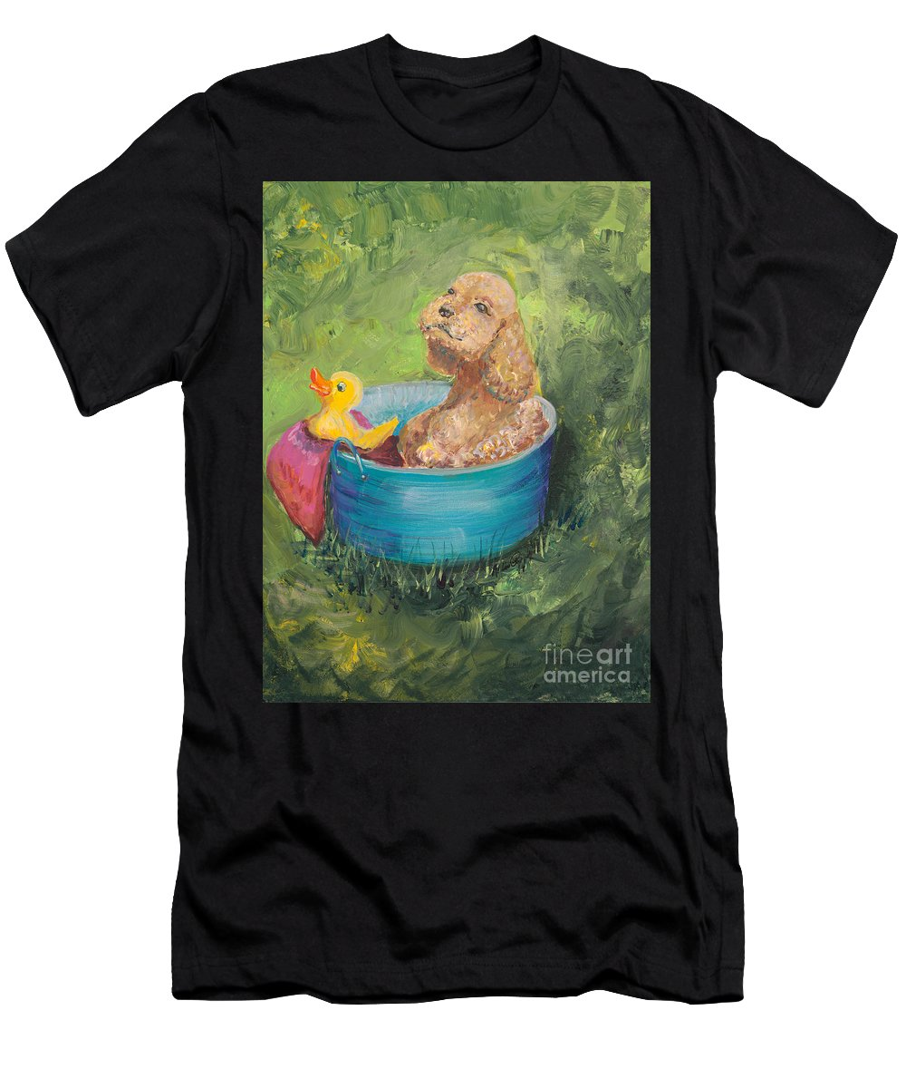 Dog Men's T-Shirt (Athletic Fit) featuring the painting Summer Fun by Nadine Rippelmeyer