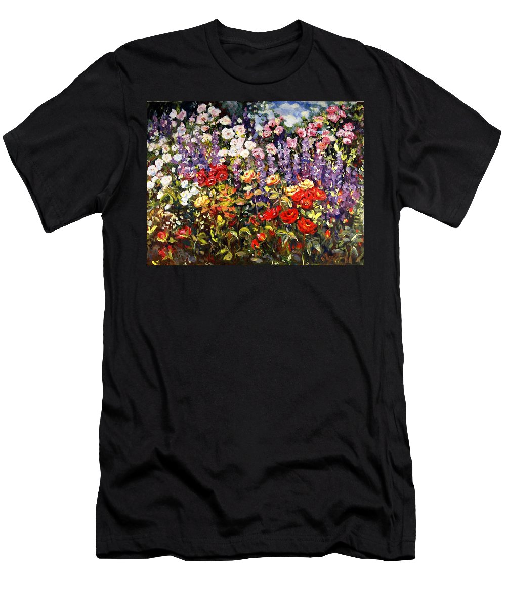 Ingrid Dohm Men's T-Shirt (Athletic Fit) featuring the painting Summer Garden II by Ingrid Dohm