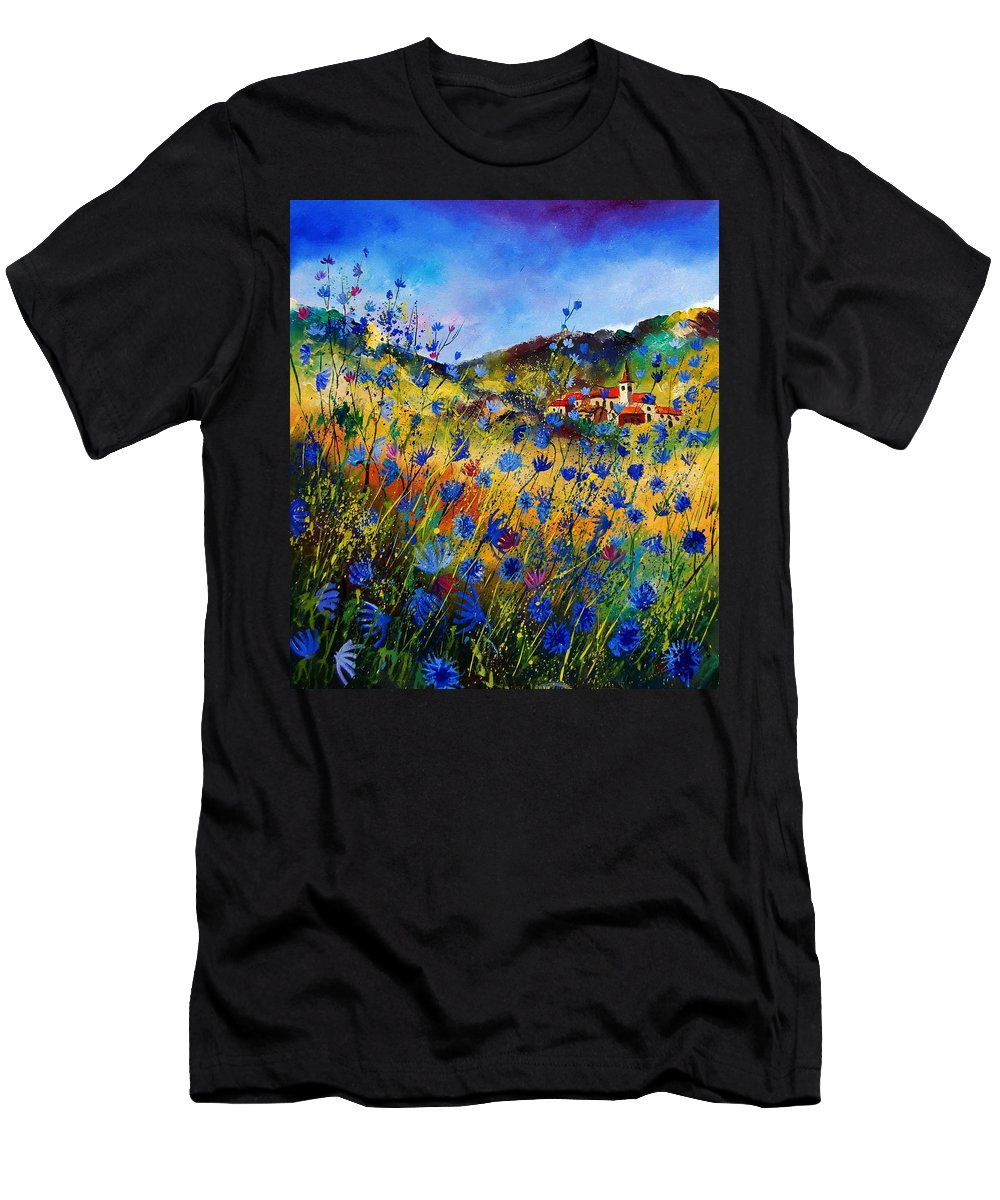 Flowers Men's T-Shirt (Athletic Fit) featuring the painting Summer Glory by Pol Ledent