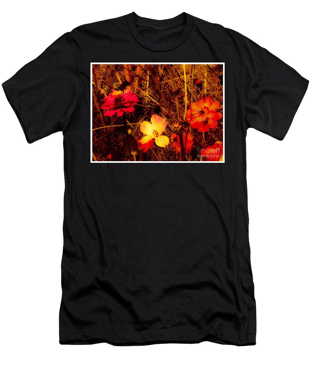Flowers Men's T-Shirt (Athletic Fit) featuring the photograph Summer Glow On Flowers by Debra Lynch