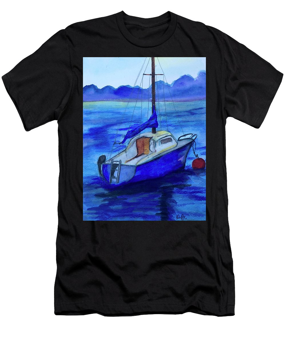 Sailboat Men's T-Shirt (Athletic Fit) featuring the painting Summer House by Kimberly Balentine