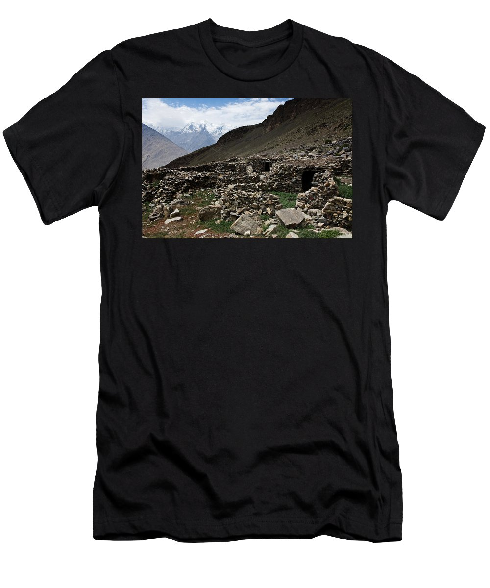 Backpacking Men's T-Shirt (Athletic Fit) featuring the photograph Summer Hut by Konstantin Dikovsky